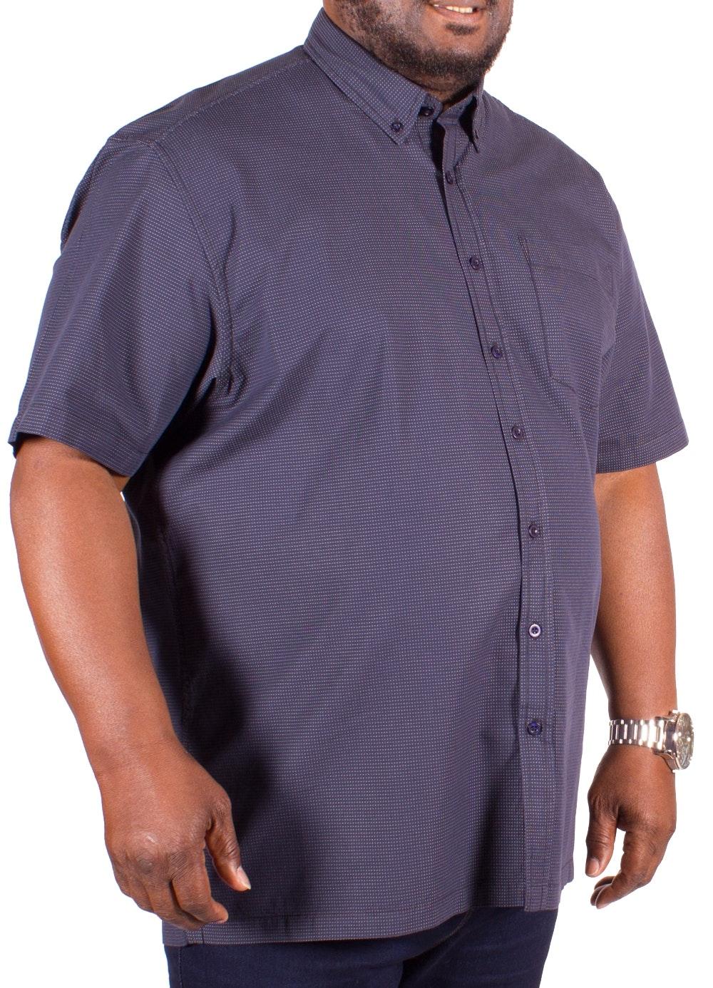 Bigdude Short Sleeve Navy Spot Dobby Shirt