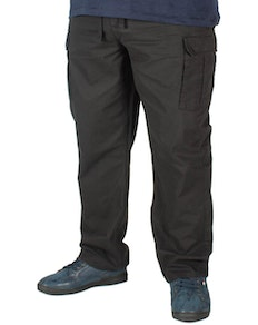KAM Elasticated Waist Cargo Trousers Black