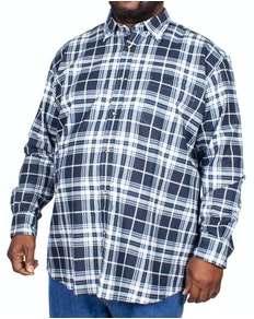 Cotton Valley Long Sleeve Brushed Check Shirt Navy