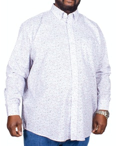 Cotton Valley Flower Print Long Sleeve Shirt White
