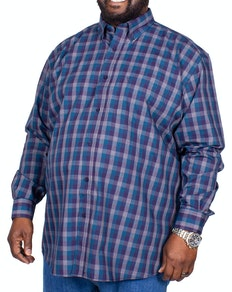 Cotton Valley Long Sleeve Modern Check Shirt Charcoal