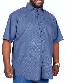 Cotton Valley Short Sleeve Circle Print Shirt Navy