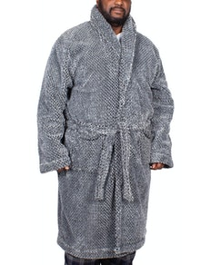 Espionage Luxury Deep Pile Dressing Gown Black/Grey