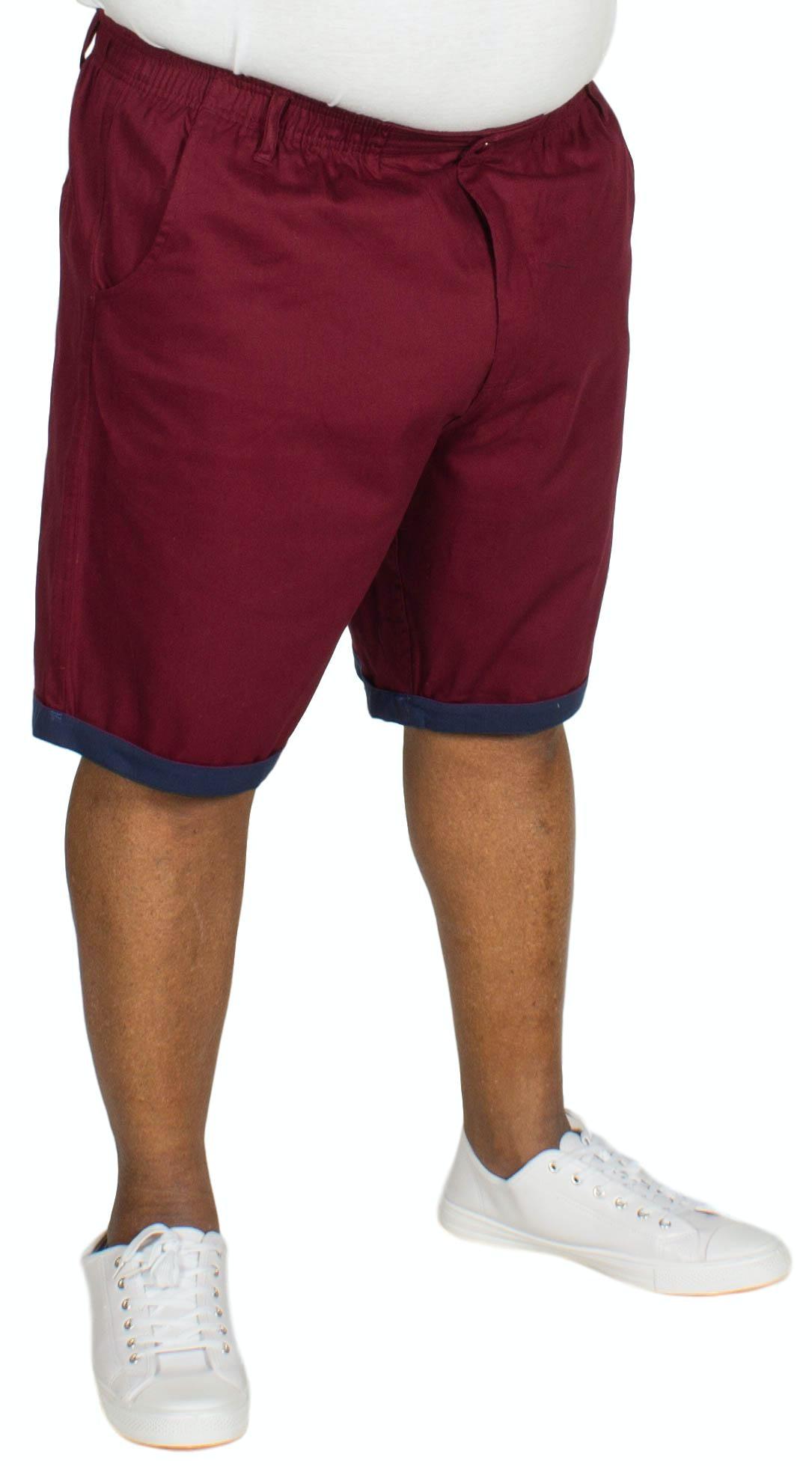Bigdude Elasticated Waist Chino Shorts Burgundy