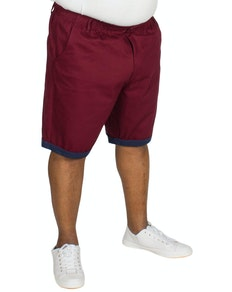 Bigdude Elasticated Waist Chino Shorts Burgundy