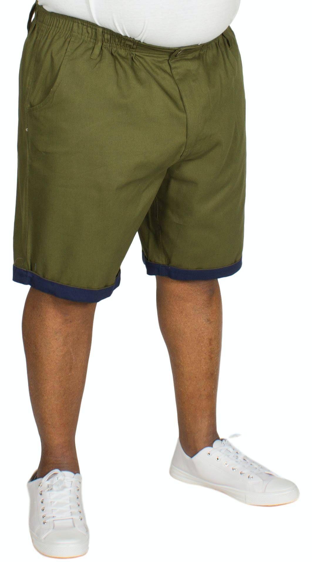 Bigdude Elasticated Waist Chino Shorts Khaki