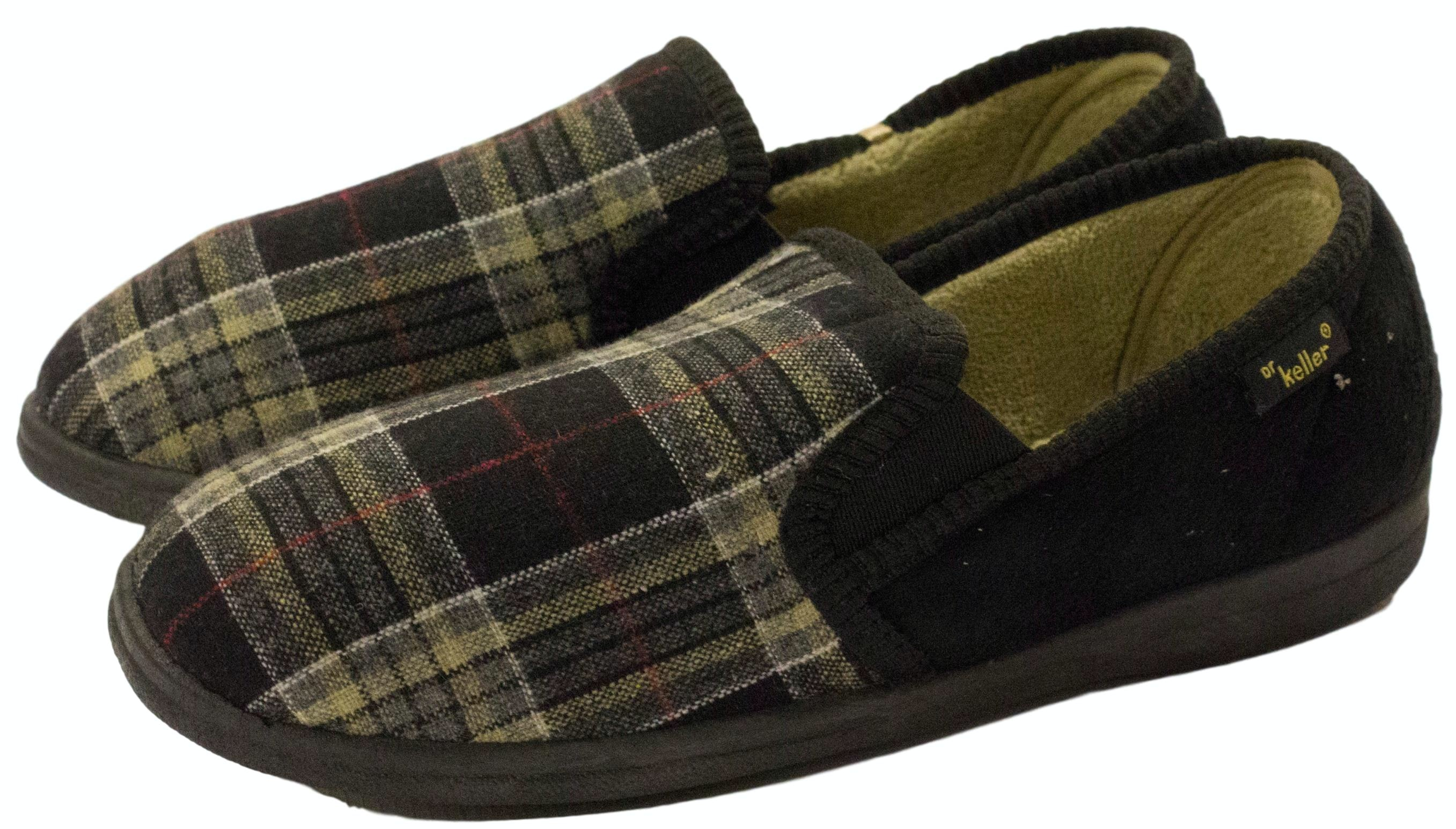 Dr Keller Broderic Twin Gusset Check Slippers Black