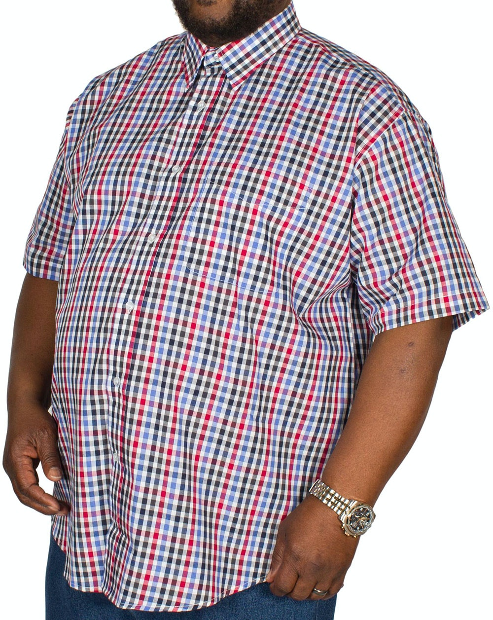 Metaphor Short Sleeve Small Check Shirt Red/Blue