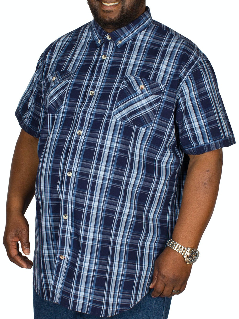 D555 Safford Short Sleeve Check Shirt Navy