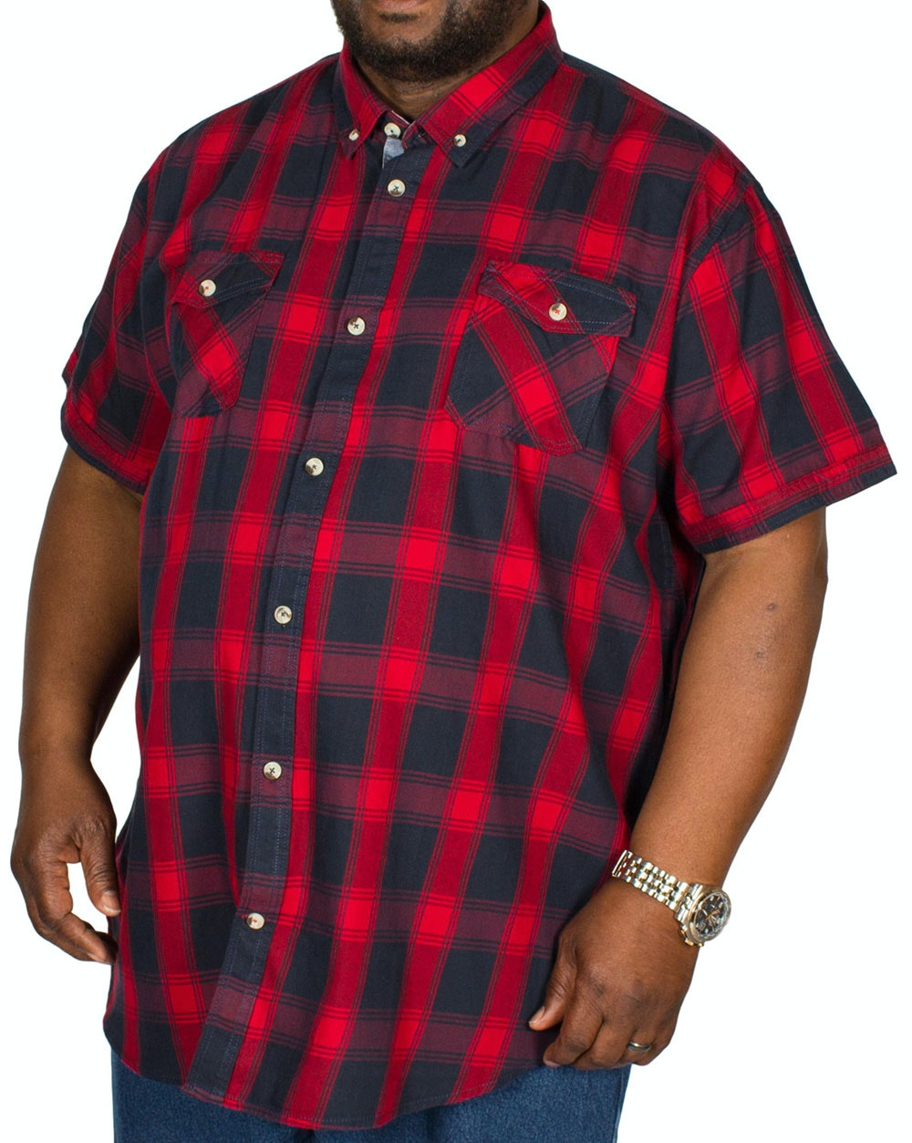 D555 Oliver Short Sleeve Check Shirt Red