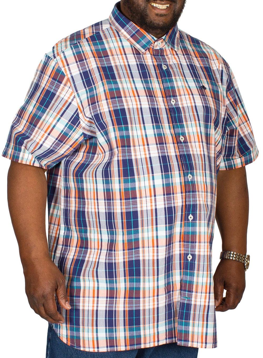 Raging Bull Poplin Check Shirt Navy