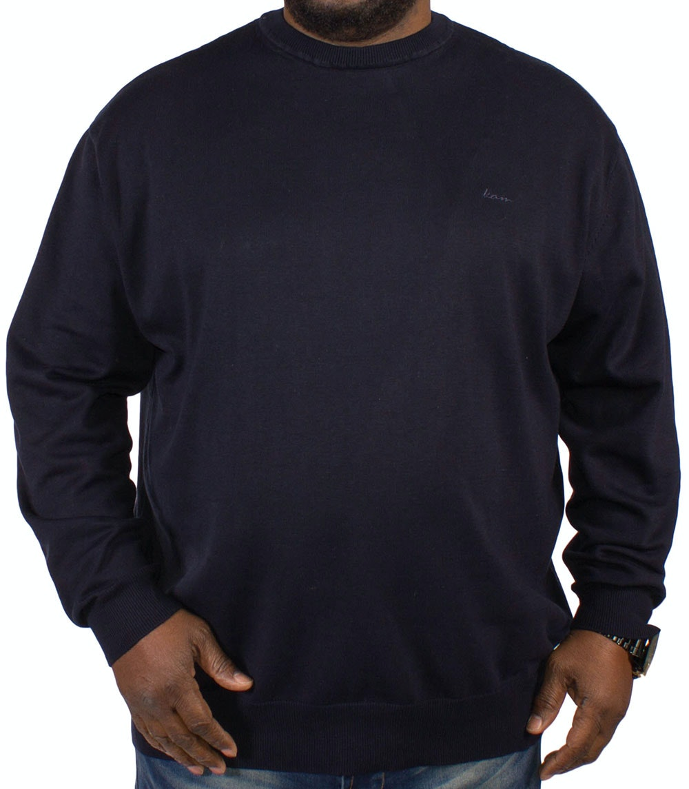 KAM Long Sleeved Crew Neck Knit - Navy
