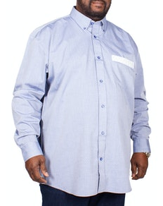 Cotton Valley Dobbie Long Sleeve Shirt Blue