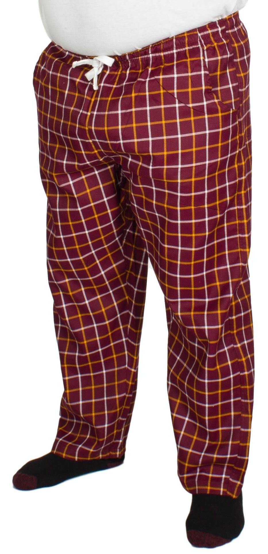 Bigdude Modern Check Lounge Pants Burgundy/Orange