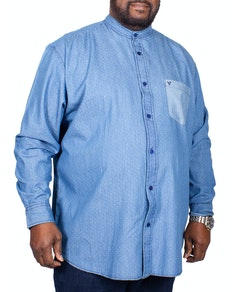Cotton Valley Grandad Collar Long Sleeve Shirt Denim