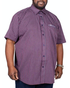 Cotton Valley Striped Short Sleeve Shirt Wine