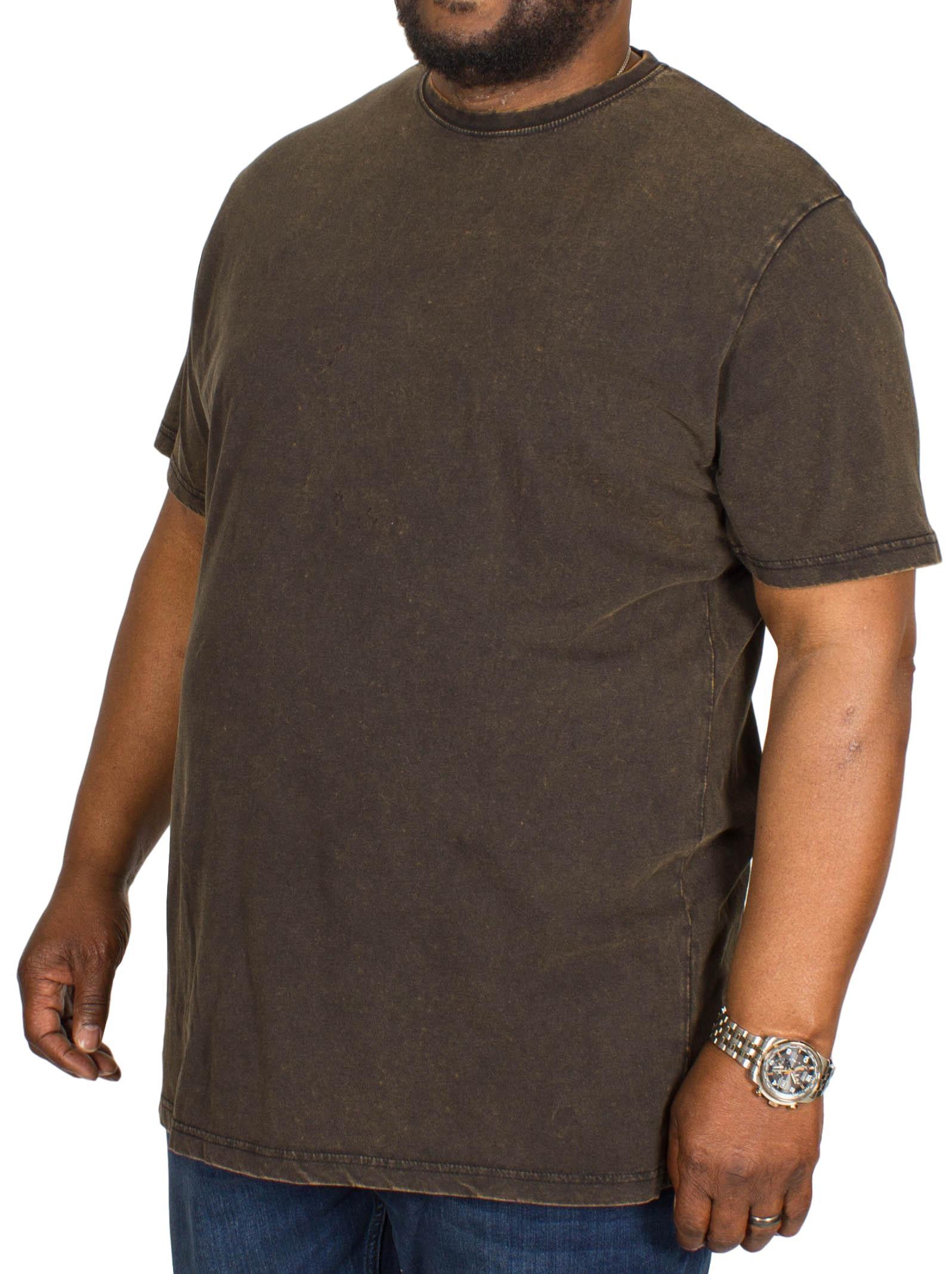 Bigdude Acid Wash Crew Neck T-Shirt Black
