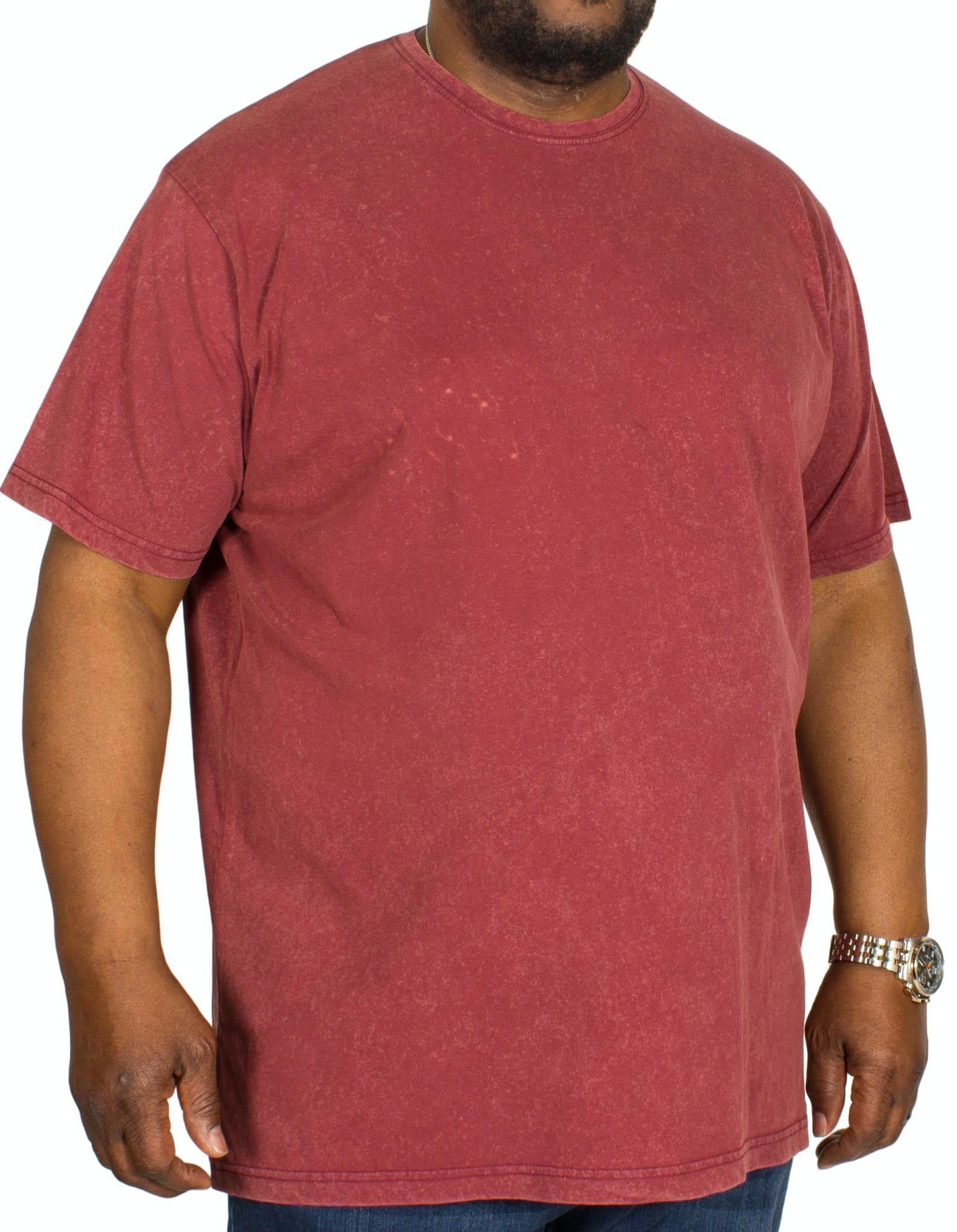 Bigdude Acid Wash Crew Neck T-Shirt Burgundy