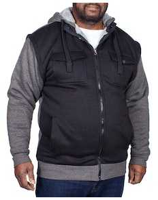 KAM Borg Lined Contrast Hoody Charcoal