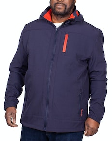 Espionage Hooded Softshell Jacket Navy/Ornage