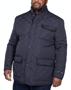 Espionage Diamond Quilted Jacket Navy