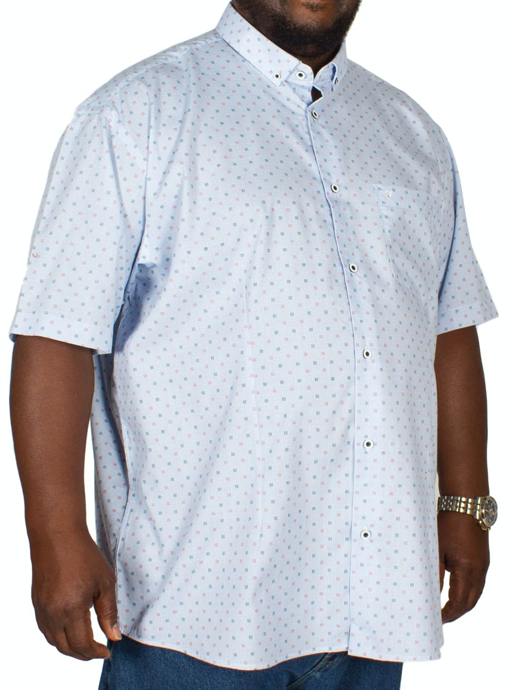 Cotton Valley Over Check Print Shirt Blue