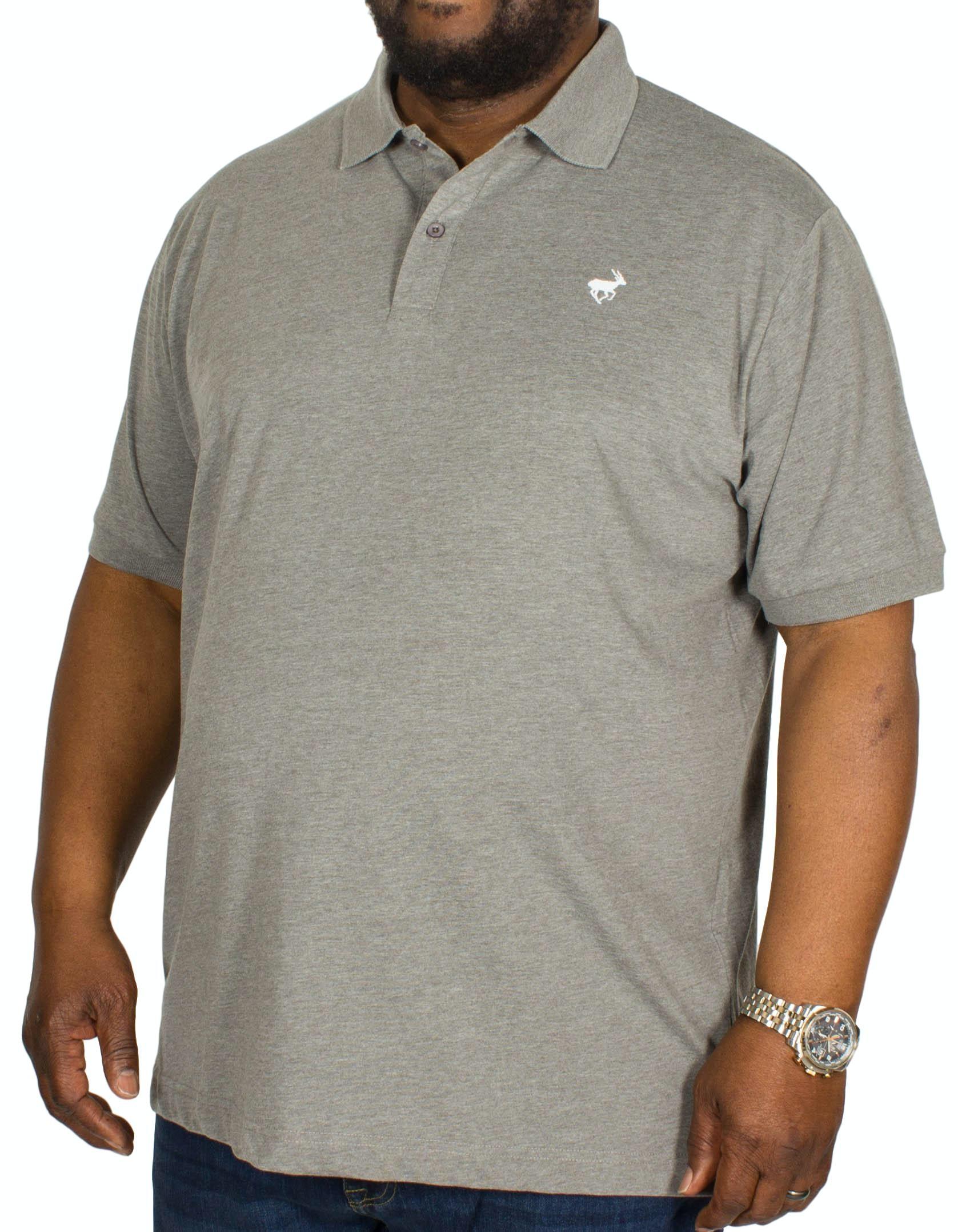 Bigdude Jersey Marl Polo Shirt Charcoal