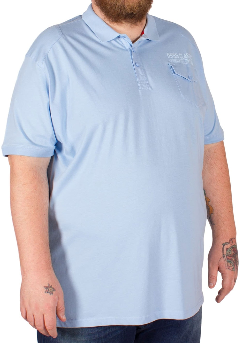 D555 Dallin Shoulder Patch Polo Shirt Blue