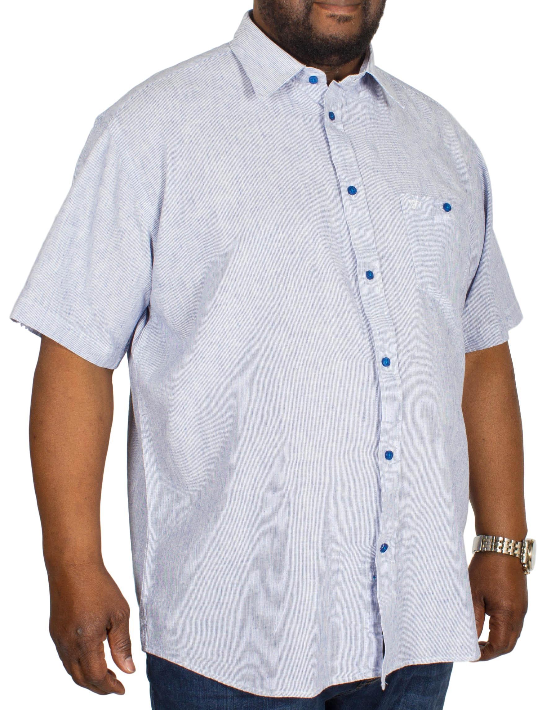 Cotton Valley Linen Mix Stripe Shirt Navy/White