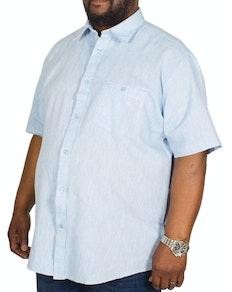 Cotton Valley Linen Mix Short Sleeve Shirt Blue