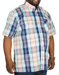 KAM Check Short Sleeved Shirt Blue/Peach