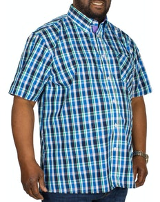 KAM Check Short Sleeved Shirt Blue/Green