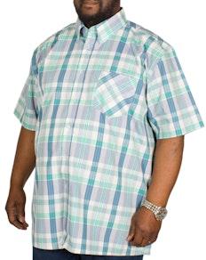KAM Check Short Sleeved Shirt Green/Blue