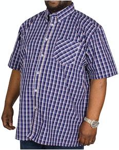 KAM Check Short Sleeved Shirt Navy/White