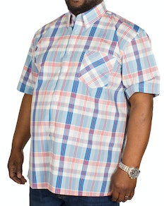 KAM Check Short Sleeved Shirt Red/Sky