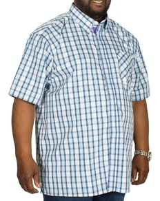 KAM Check Short Sleeved Shirt Charcoal/Blue