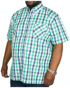 KAM Check Short Sleeved Shirt Green/Navy