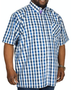 KAM Check Short Sleeved Shirt Black/Navy