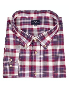 Cotton Valley Small Herringbone Print Check Shirt Wine