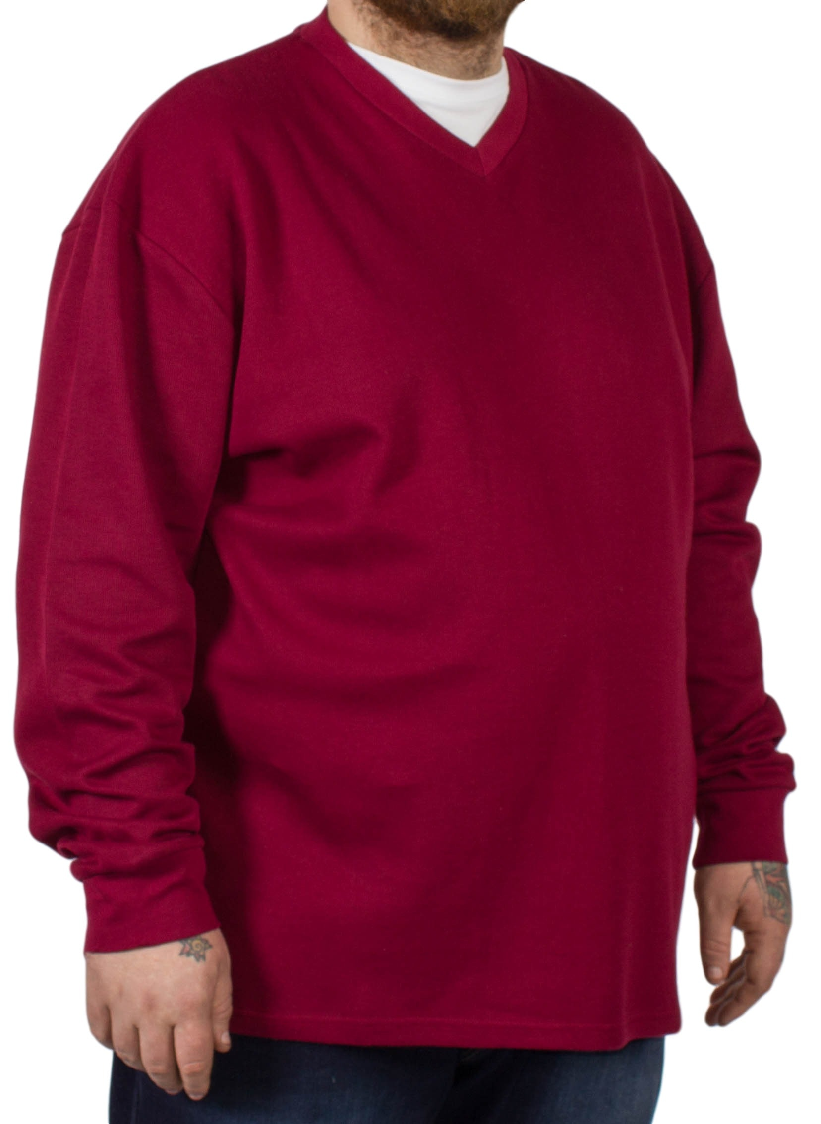 D555 Bliss Burgundy French Rib Layered V-Neck Jumper