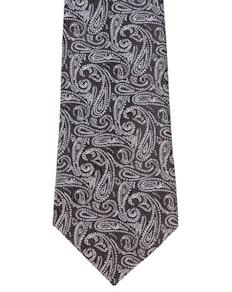 Knightsbridge Extra Long Compact Paisley Tie Black