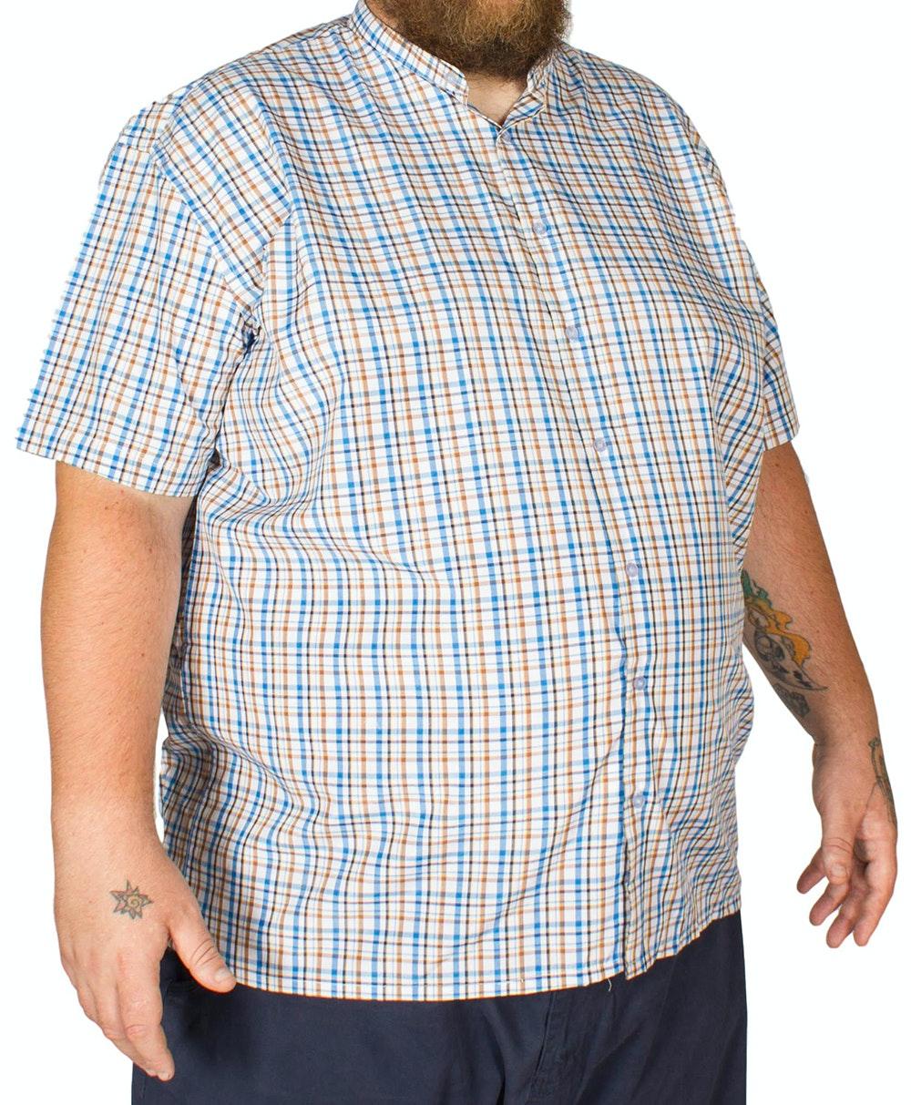 Fitzgerald Grandad Check Shirt Blue