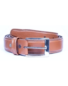 Ronald Leather Stitch Detail Belt Tan