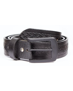 Denis Leather Woven Detail Belt Black