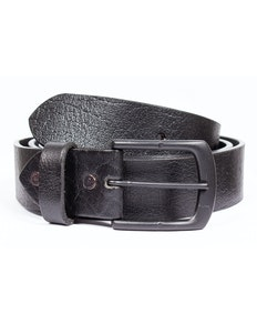 Brondon Leather Matte Buckle Belt Black