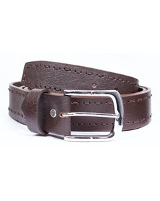 Chad Leather Heavy Stitch Belt Dark Brown