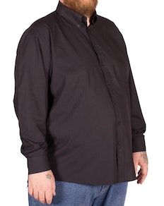 Espionage Traditional Long Sleeve Button Down Plain Shirt Black