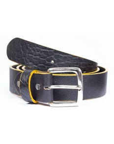 Larry Leather Contrast Edge Belt Black
