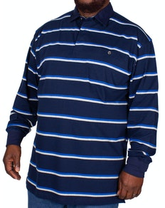 KAM Long Sleeve Jersey Stripe Polo Shirt Navy