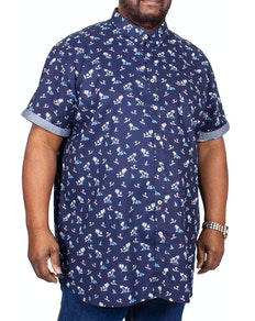 D555 Davian Printed Short Sleeve Shirt Navy